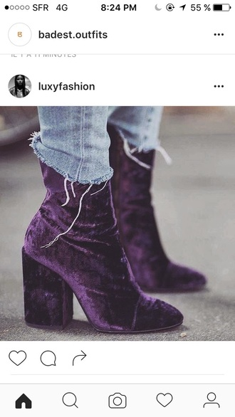 shoes velvet high heels boots ankle boots purple