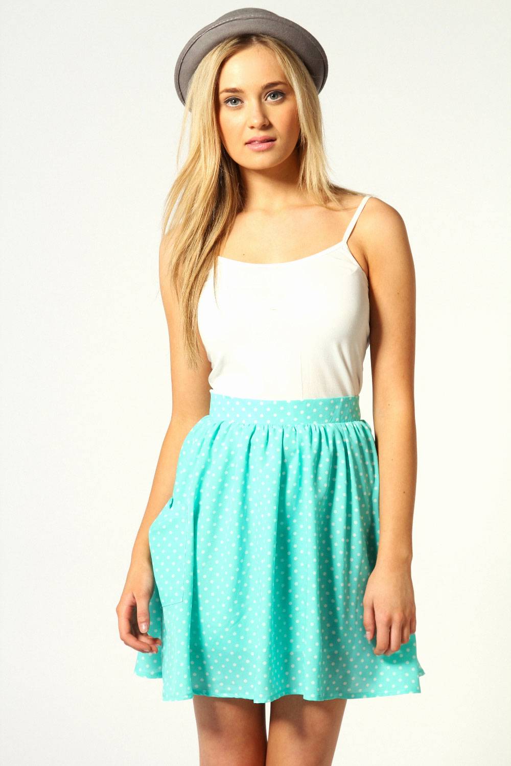 Danny High Waist Spotty Chiffon Skater Skirt | eBay