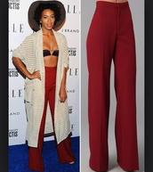 pants,solange knowles,palazzo pants,wide-leg pants,fashion,jeans,high waisted pants,red pants