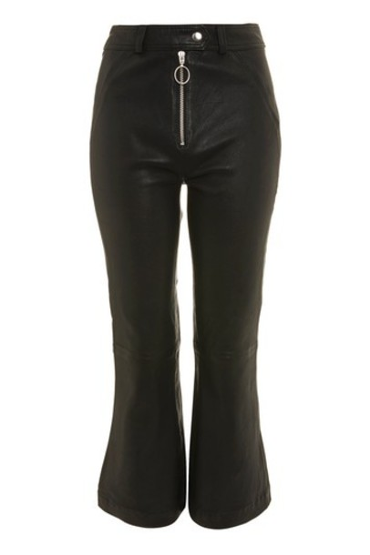 Topshop flare leather black pants