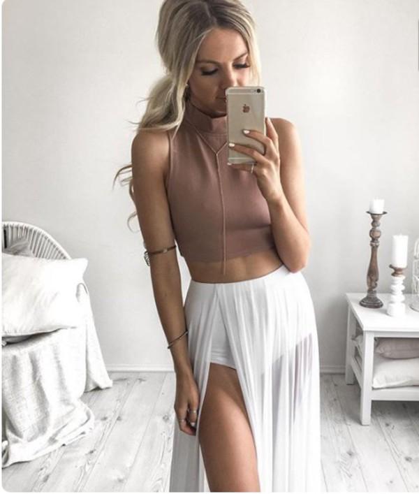 eadf8f2299c7 skirt mesh maxi skirt sexy trendy fashion white nude sheer maxi slit maxi  skirt slit skirt