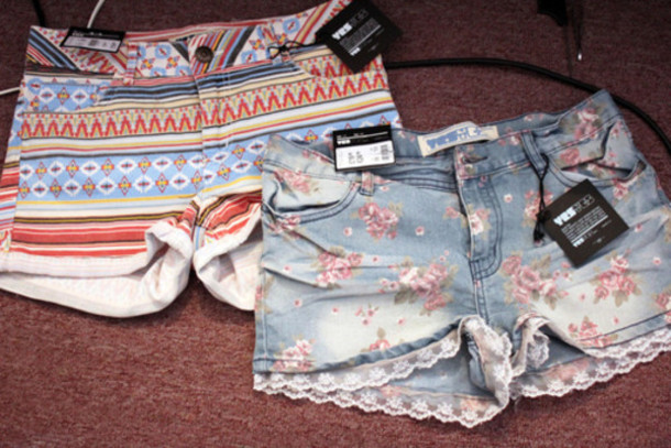 shorts floral denim vintage lace tribal print cute shorts pretty flowery