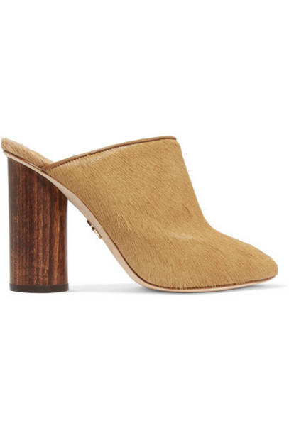 Brother Vellies hair tan mules shoes