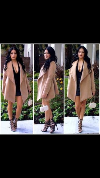coat beige swag fashion style winter coat