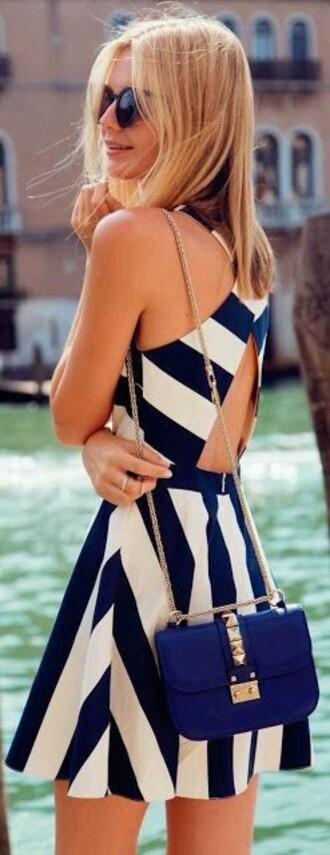 dress dark blue dress striped dress