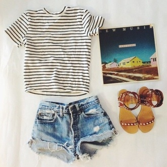 shorts blouse shoes summer outfits hipster striped shirt