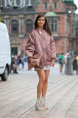 jacket bomber jacket satin bomber oversized bomber jacket white dress lace up heels pink bomber jacket pink clutch block heels streetstyle