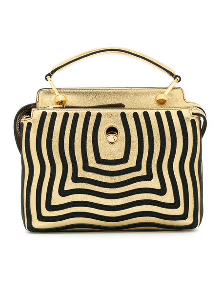 Fendi women gold leather grey metallic bag