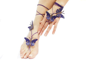 jewels sandals barefoot sandals butterfly wedding beachy