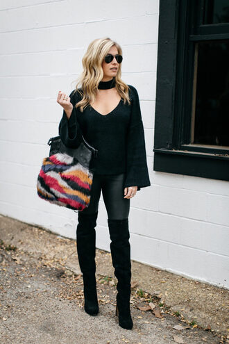 onesmallblonde blogger sweater shoes bag leggings jeans handbag furry bag thigh high boots boots