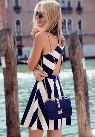 blue dress white blue navy stripes striped dress dress