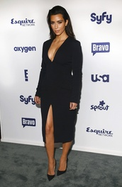 dress,black dress,structured,kim kardashian,keeping up with the kardashians,plunge neckline,black,sweater,rami malek,clothes,celebrity style,brands,menswear