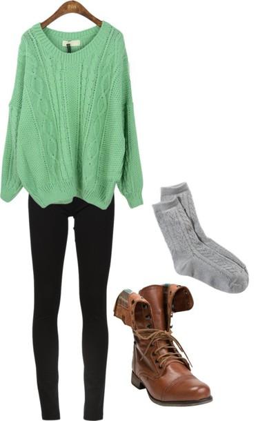Sweater oversized sweater combat boots socks leggings - Wheretoget