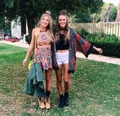 cardigan,skirt,top,shoes,tie dye,romper,boho,festical,festival,halter neck,halter top,set,bohemian,boho chic,coachella,colorful,2 piece skirt set