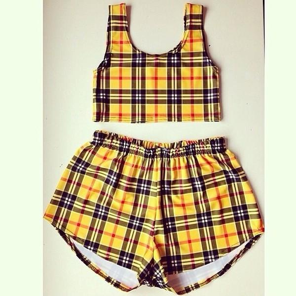 clueless clueless inspired yellow shorts crop tops plaid crop tops tartan tank top