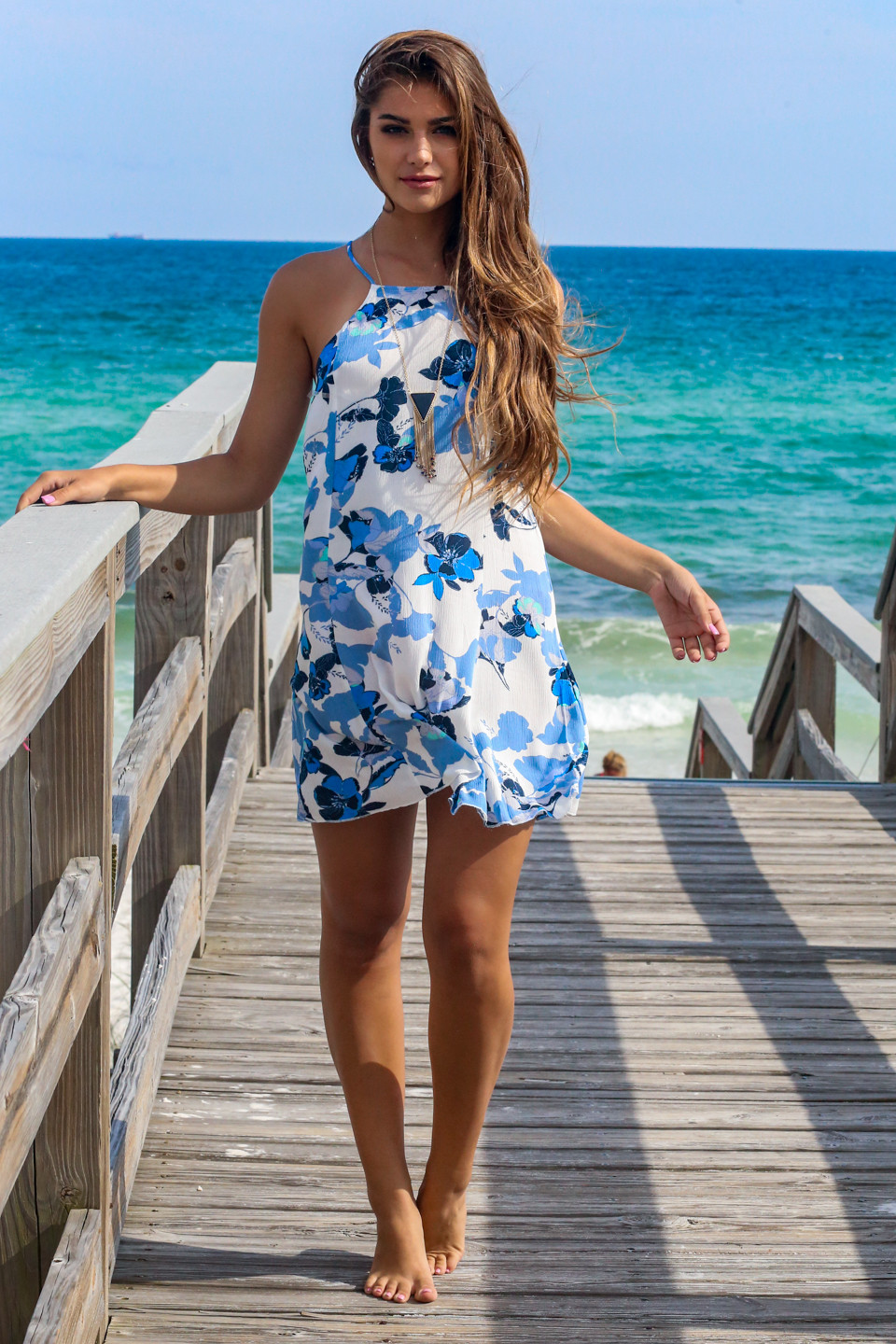 Let Loose High Neck Floral Dress