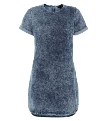 Blue Denim Short Sleeve Tunic Dress