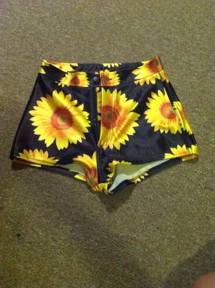 sun flower shorts pants disco shorts
