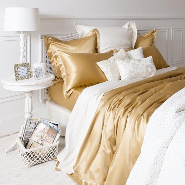 Jewels Bedding Zara Gold Silk Pillow Home Decor