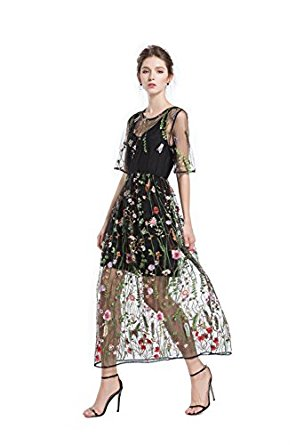 BaronHong Women's Floral Embroidered Tulle Prom Maxi Dress With Cami Dress 3/4 Sleeves at Amazon Women's Clothing store: