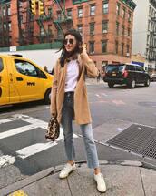coat,wool coat,jeans,sneakers,white sneakers,handbag,leopard print,white t-shirt,sunglasses
