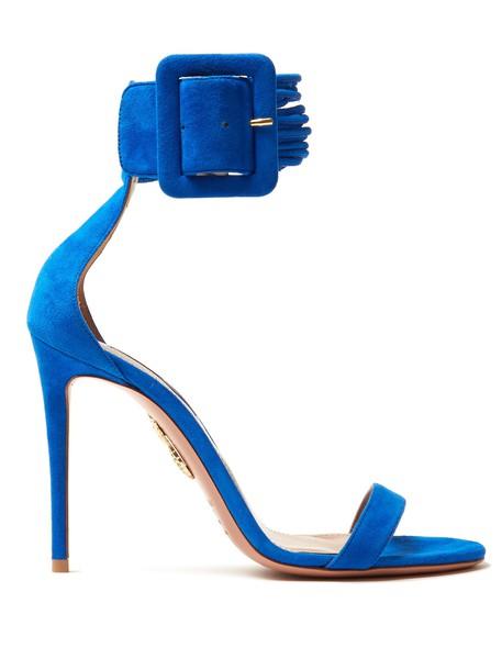 Aquazzura sandals suede blue shoes