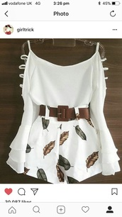 shorts,white,white blouse,beautiful outfit,outfit,urgent answer,skirt,lovely outfit,thanks,blouse,romper,dress,white dress,summer dress,belt,leaves,instagram,instagram dress,cardigan,brown,cuts in strap
