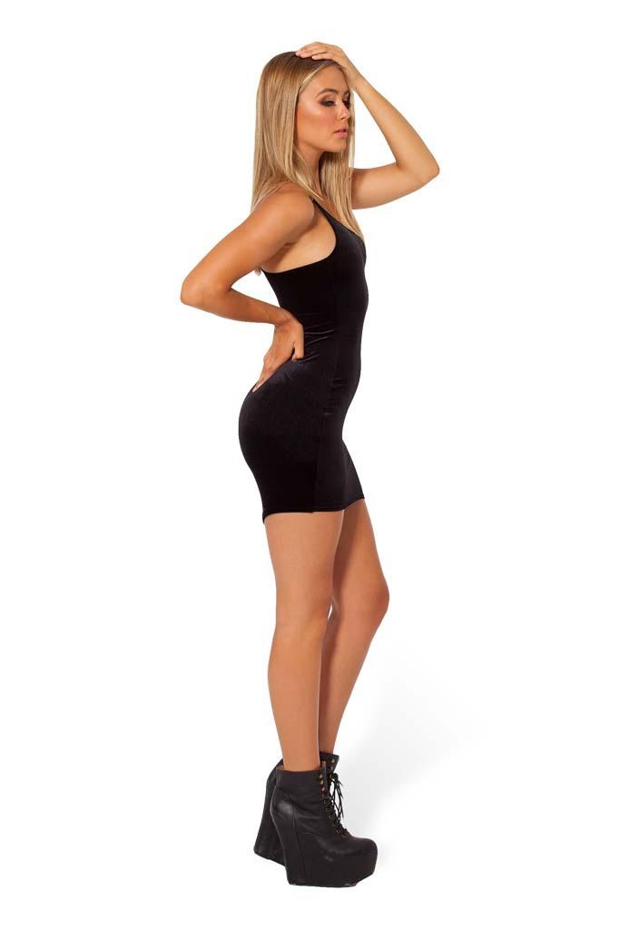 blue black summer casual Shoulder straps tight velvet dress ...