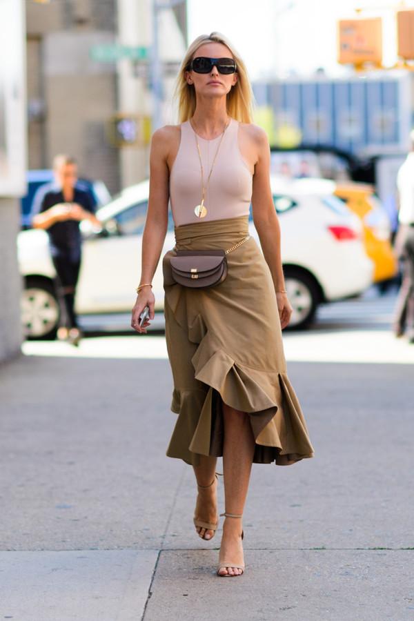 skirt top shoes sandals sandal heels necklace bag belt bag sunglasses