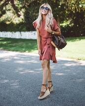 dress,tumblr,pink dress,mini dress,wrap dress,dusty pink,sandals,wedges,wedge sandals,summer outfits,summer dress,bag,sunglasses,shoes