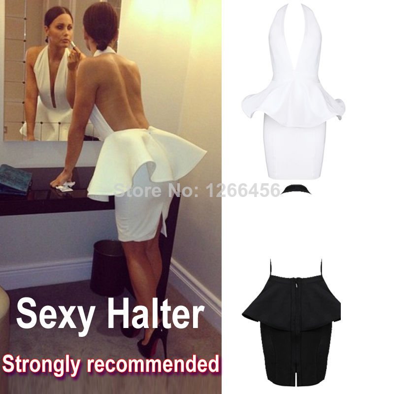 Aliexpress.com : Buy 2014 Popular Summer Sexy 100% Rayon Celebrity/Party Peplum Backless Halter Deep V Neck White Cocktail Dress Plus Size XS XL from Reliable dresses communion suppliers on Lady Go Fashion Shop