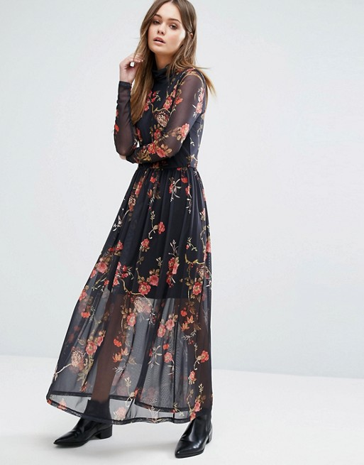 a810a0fc0b8f Vero Moda High Neck Floral Mesh Maxi Dress at asos.com