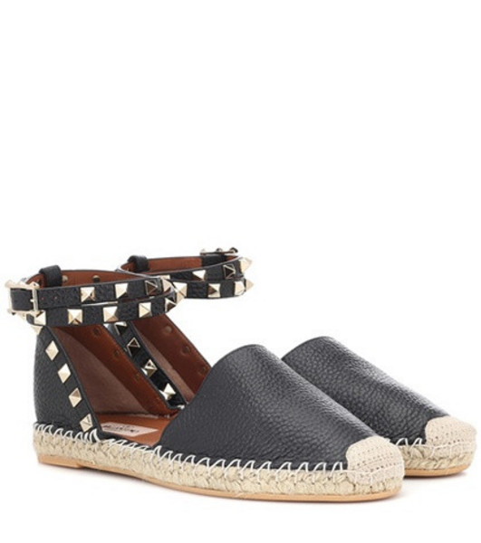 Valentino Garavani Rockstud leather espadrilles in black