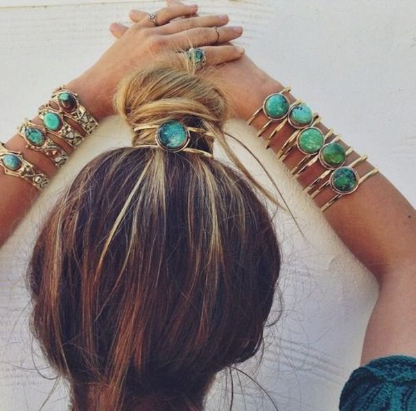 jewels jewelry bangle bracelets hair accessory gold green blue hair accessory acessories braclet gold bracelet ring