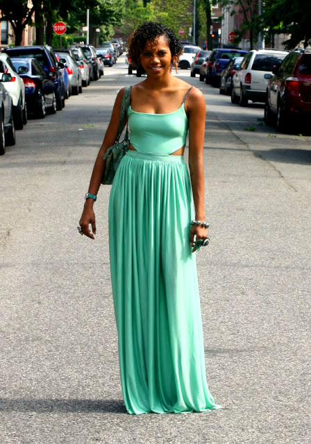 My Design: Mint Maxi Dress With Cut-Outs | TABS ON FASHION