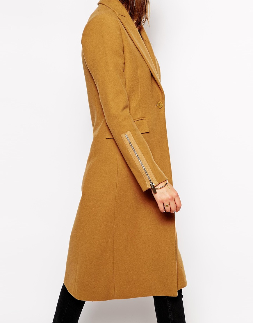Supertrash Octavian Coat in Camel with 3/4 Length Sleeves at asos.com