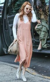 dress,pink dress,pink slip dress,slip dress,spaghetti strap,spaghetti straps dress,top,white top,long sleeves,shoes,grey shoes,bag,nude bag,sunglasses,yellow sunglasses,emma roberts,celebrity style,celebrity,dress over t-shirt