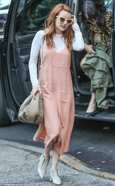Emma Roberts wears a Fleur Du Mal pink