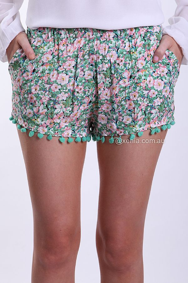 FLORAL POM POM HEM SHORTS , DRESSES, TOPS, BOTTOMS, JACKETS & JUMPERS, ACCESSORIES, 50% OFF SALE, PRE ORDER, NEW ARRIVALS, PLAYSUIT, COLOUR, GIFT VOUCHER,,SHORTS,Green,Print Australia, Queensland, Brisbane