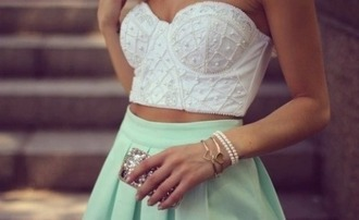 top white top white skirt mint skirt mint phone cover nails jewels heart girly outfits tumblr tumblr outfit tumblr top tumblr elegant top elegant skirt dress