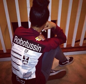 hair bun supreme sweater shirt burgundy burgundy sweater words on shirt t shirt with words