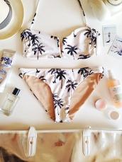 swimwear,white,palm tree print,cute,tropical swimwear,bikini palm trees