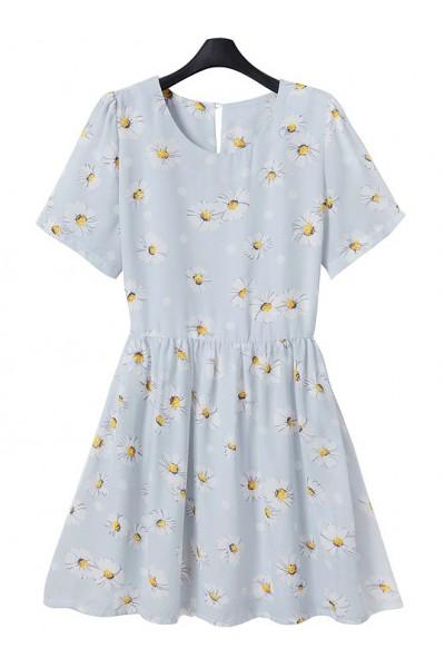 KCLOTH Pushing Daisy Print Pleated Dress