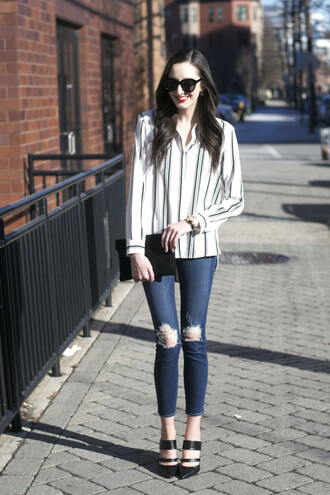 the glam files blogger striped shirt ripped jeans