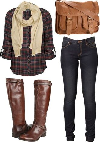 bag boots plaid shirt shoes blouse jeans brown leather boots fall flannel fall outfits fall colors cozy scarf top brown boots shirt flannel shirt