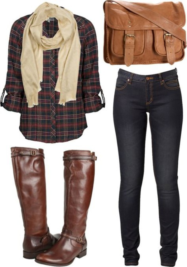 bag boots plaid shirt shoes blouse jeans brown leather boots fall flannel fall outfits fall colors fall outfits cozy plaid shirt scarf top brown boots shirt flannel shirt