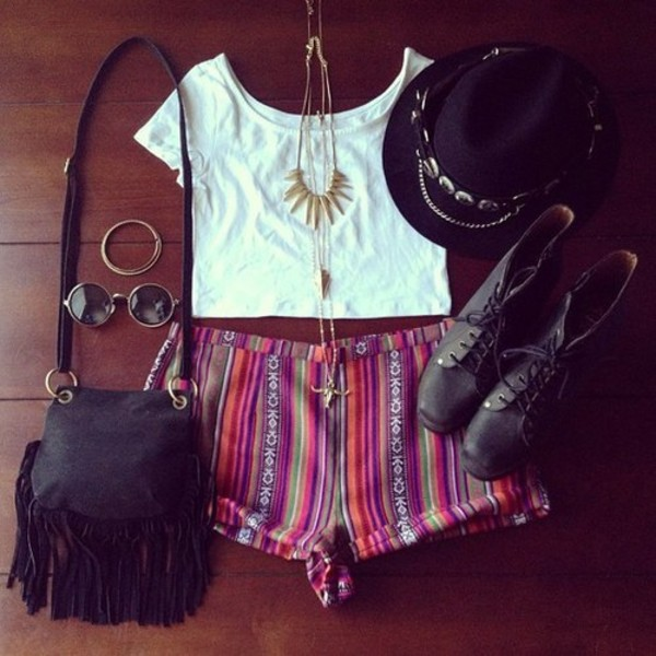 hat clothes black extras chain shorts shirt colorful cute festival funny shoes jewels color/pattern aztec tribal pattern boho patterns shorts stripes sunglasses colorful