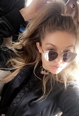sunglasses silver jewelry gigi hadid gigihadidstyle black gold jacket