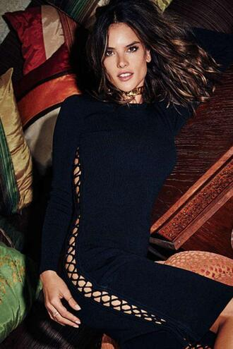 dress bodycon dress alessandra ambrosio model lace up black dress