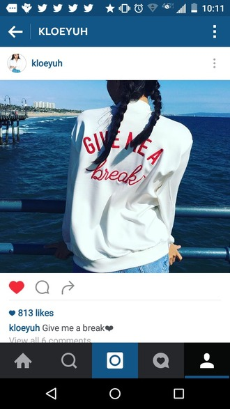 jacket white jacket red quote on it give me a break cute instagram outift fashion